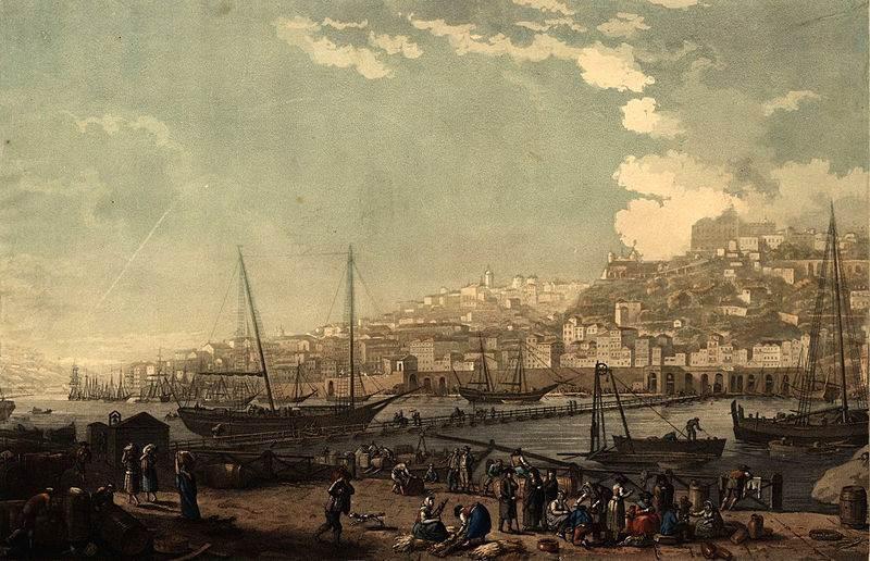 Vue de la ville et du port de Porto, por Henry L'Eveque (1817)